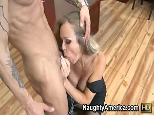 Dirty blonde MILF gets fucked hard on her desk