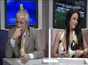 Nipslip from a busty Italian guest in a television sportshow