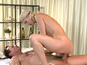Massage Rooms Hot masseuse gets oiled before fucking